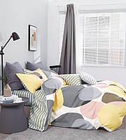 Комплект постельного белья семейный Bella Villa сатин серо-желтый
