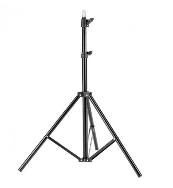 Штатив 2м для кольцевой лампы раскладной алюминиевый лёгкий прочный 6901 черный