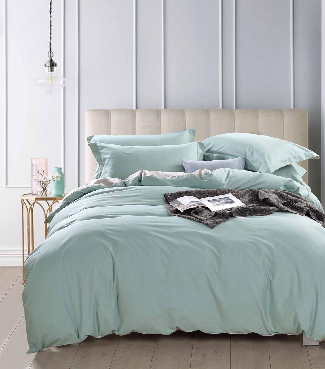 Комплект постельного белья семейный Bella Villa сатин бежево-коричневый