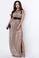 Прямое вечернее платье длины макси с высоким разрезом