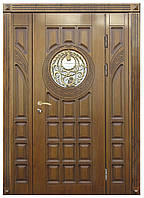 Двери входные уличные Термопласт 75 мм Модель 27 (стеклопакет + ковка) 970 * 2050 Vinorit