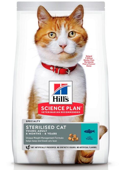 Хиллс Hills SP Fel Young Adult Sterilised Cat Tn сухой корм с тунцом для стерилизованных котов и кошек, 1.5 кг