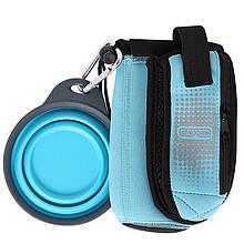 Сумка со складной миской для воды и аксессуаров Dexas BottlePocket with Travel Cup голубая