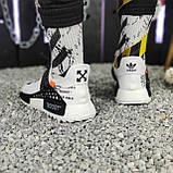 Мужские кроссовки Adidas Pharrell Williams NMD Off White в стиле Адидас НМД Офф Вайт БЕЛЫЕ (Реплика ААА+), фото 3