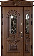 Двери входные уличные Термопласт 74 мм Модель 21 (стеклопакет + ковка) Vinorit