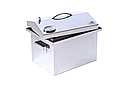 Домашняя коптильня для горячего копчения из нержавейки домик с термометром 400х300х310, фото 8