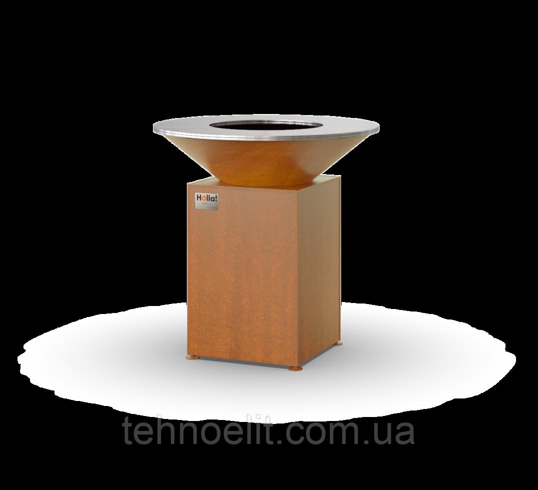 Гриль-мангал, барбекю HOLLA GRILL Original Rust  закрытая тумба