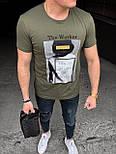 😜 Футболка - Мужская футболка хаки с принтом, фото 3