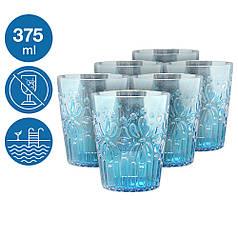 Набір склянок 375мл Синє море 6 шт небиткий багаторазовий посуд для басейну яхти кейтерингу склопластик