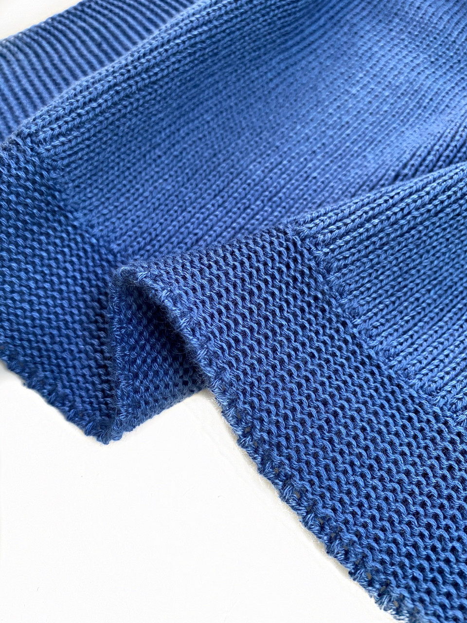 Плед вязаный Ohaina 190х140 хлопок Classic Blue