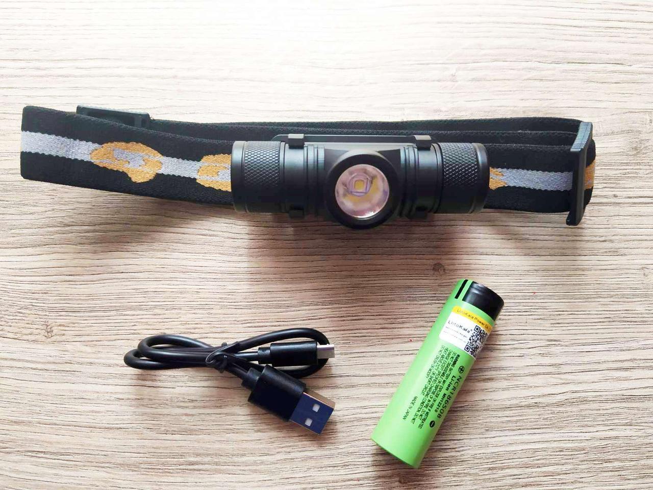 Налобный фонарь  BORUiT D10 + аккумулятор Panasonic