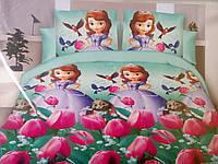 Красивое постельное белье полуторка для девочек, кукла