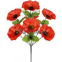 Искусственные цветы букет атласных маков 7-ка, 43см
