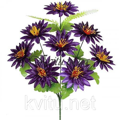 Искусственные цветы букет атласных лотосов фиолетовых 8-ка, 46см