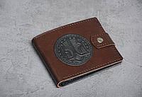 Кожаный кошелек ручной работы, кошелек с гербом