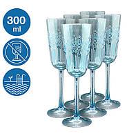 Набор бокалов Синее море 6 шт акриловый небьющаяся многоразовая посуда для бассейна яхты кейтеринга 300 мл