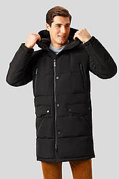 Длинное мужское пальто пуховик с высоким воротом черное Finn Flare W18-22006-200