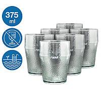 Набор стаканов Жадор 6 шт небьющаяся многоразовая посуда для бассейна яхты кейтеринга стеклопластик 375 мл
