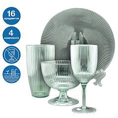 Набір Жадор небиткий багаторазовий посуд 4 комплекти для басейну яхти кейтерингу склопластик 16 предметів