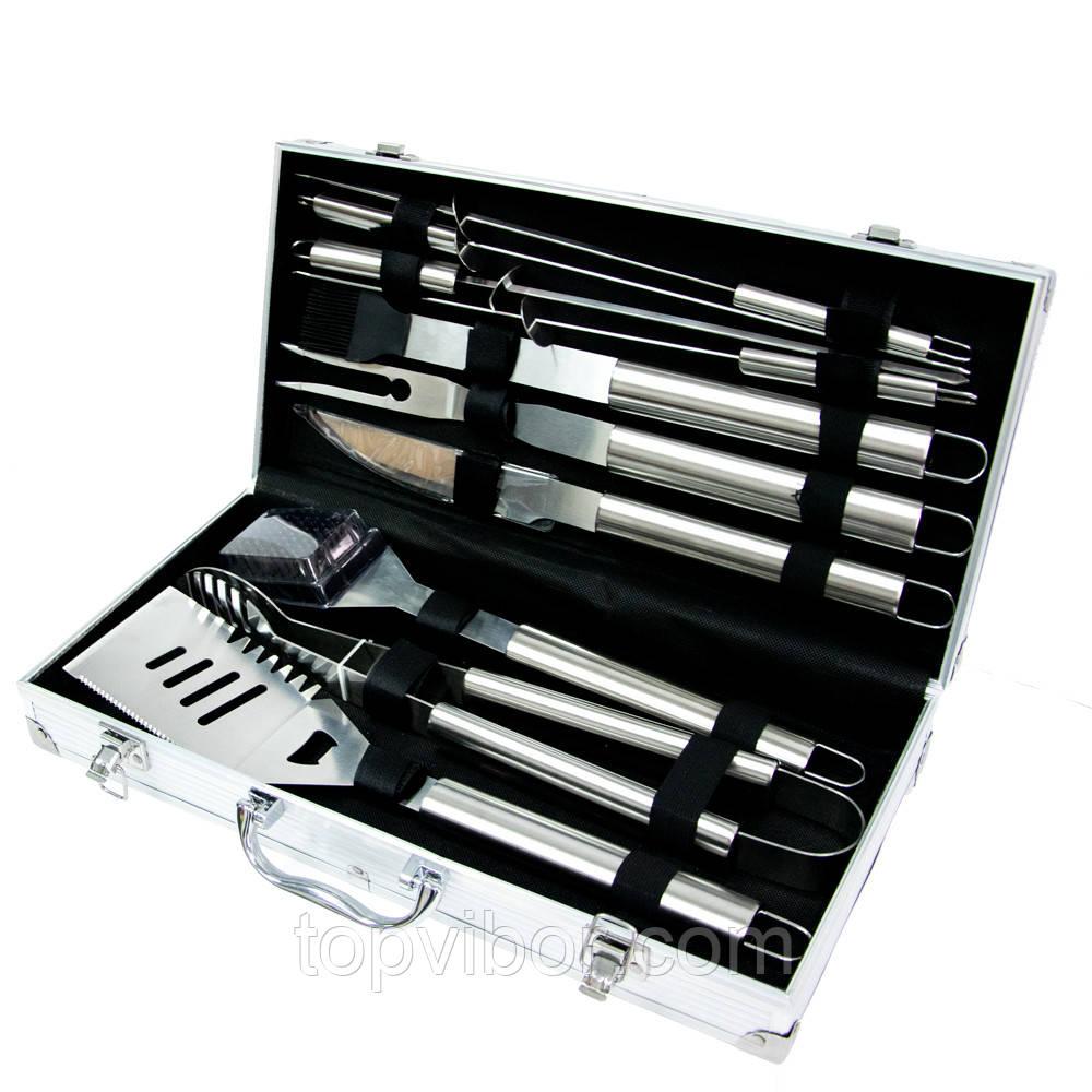 Подарунковий набір інструментів в кейсі для барбекю (гриля): щипці, вилка, шампура. BBQ 10