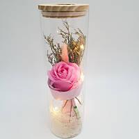 Роза в колбе Ukc с LED 26 см Розовая (VD171702406)