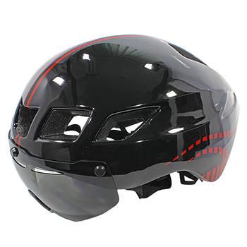 Шлем велосипедный с стеклом Helmet ScoHiro-Work TT-3 Black + Red окружность 57-61 защитный велошлем