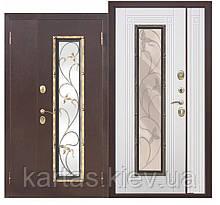 Входная дверь со стеклопакетом Плющ 75мм 1200х2050
