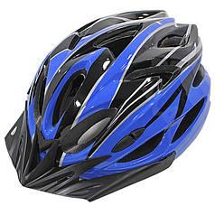Шлем велосипедный защитный Helmet Н-012F Black + Blue велошлем аксессуар для велосипедистов катания