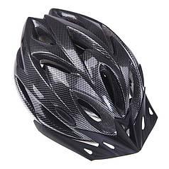 Шлем велосипедный защитный Helmet Н-012F Carbon Black велошлем аксессуар для велосипедистов катания