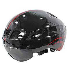 Шлем велосипедный защитный с стеклом Helmet ScoHiro-Work TT-3 Black + Red окружность 57-61 велошлем
