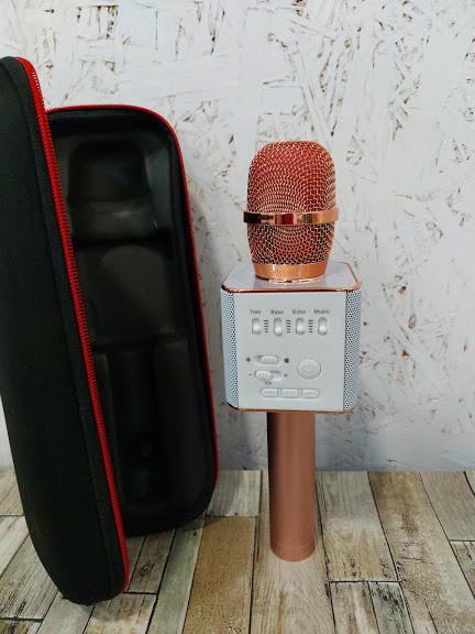 Беспроводной микрофон портативный караоке с колонками Q9 USB