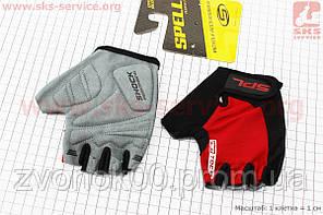 Перчатки без пальцев S-черно-красные, с гелевыми вставками под ладонь SBG-1457