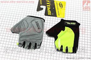 Перчатки без пальцев S-черно-салатовые, с гелевыми вставками под ладонь SBG-1457