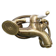 Смеситель для ванны Santan IMPERIAL 83ZZ5104 br, белый душ из керамики