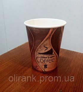 Стаканы бумажные 250мл 50шт/уп рисунок Кофейная ВОЛНА (40уп/ящ)  (кр -77)