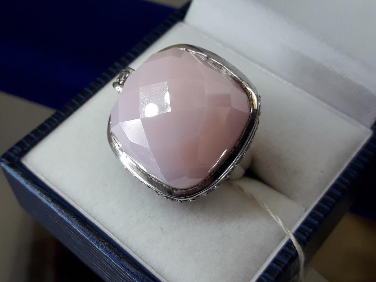 Срібне кільце з рожевим кварцом