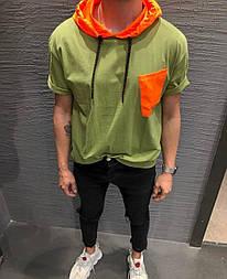 😜 Футболка - Мужская футболка зеленая с оранжевым капюшоном