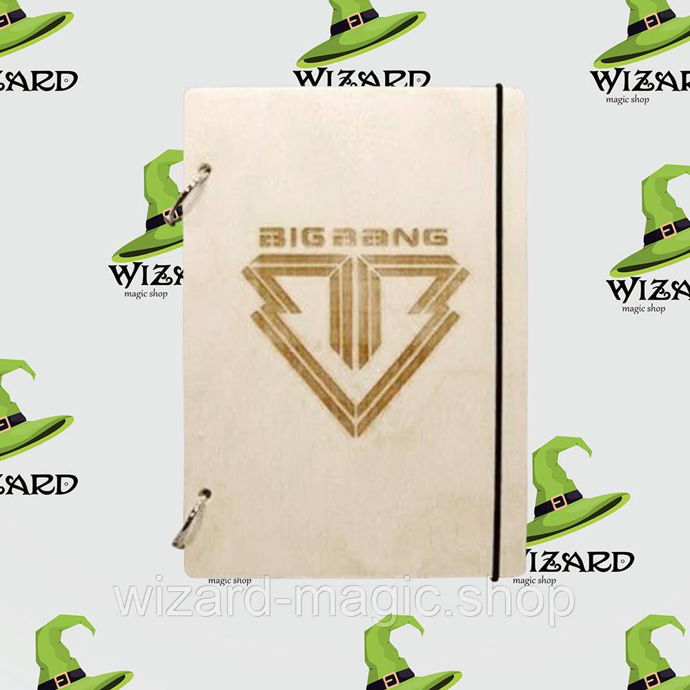 Деревянный блокнот А6 Big Bang kpop (светлое дерево)