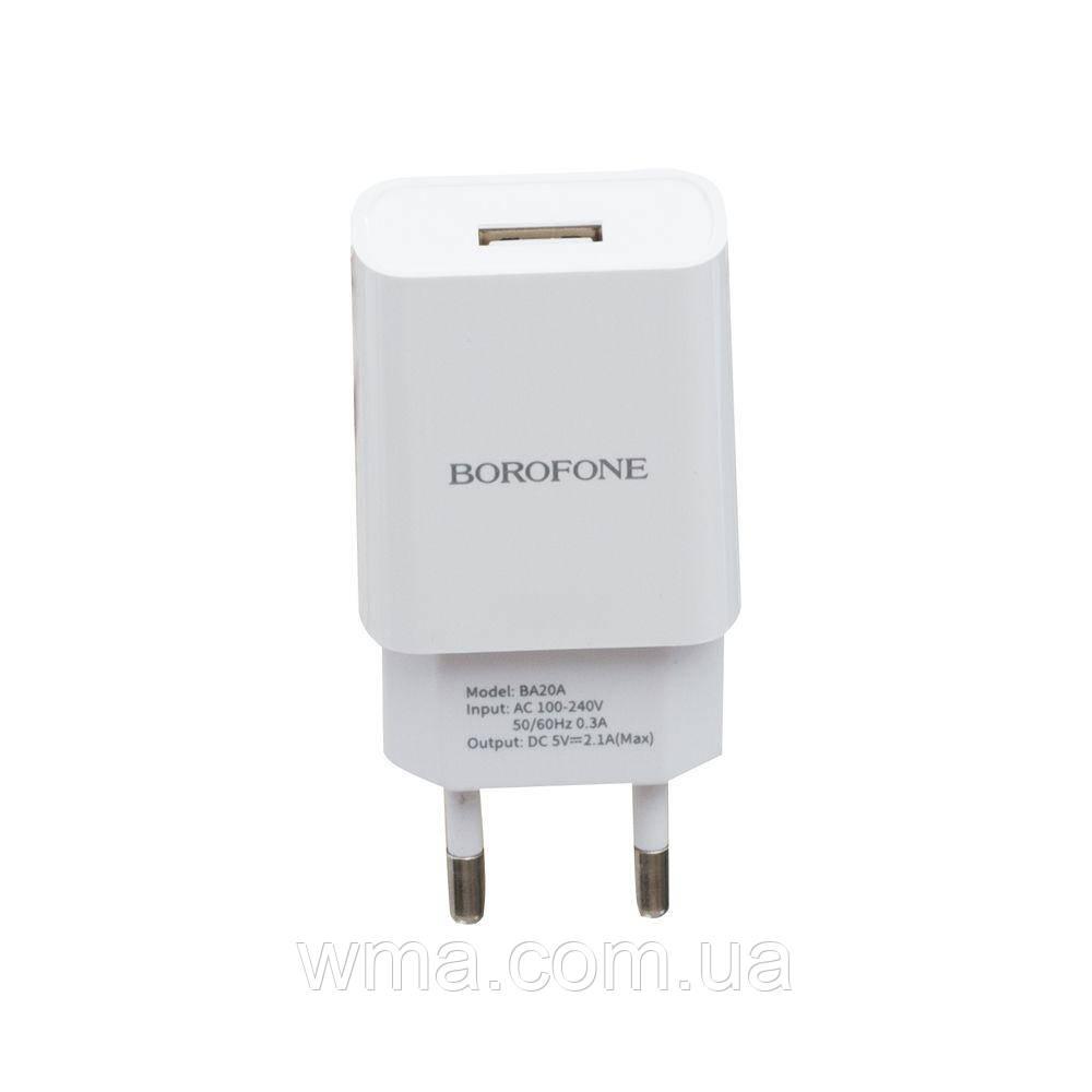 Сетевое Зарядное Устройство Borofone BA20A Type-C 1USB 2.1A Цвет Белый