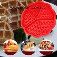 Силиконовая форма для выпечки и вафель в виде сердца, фото 1