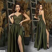 Нарядное вечернее женское платье в пол с открытым декольте и шелковой юбкой  арт.  7336