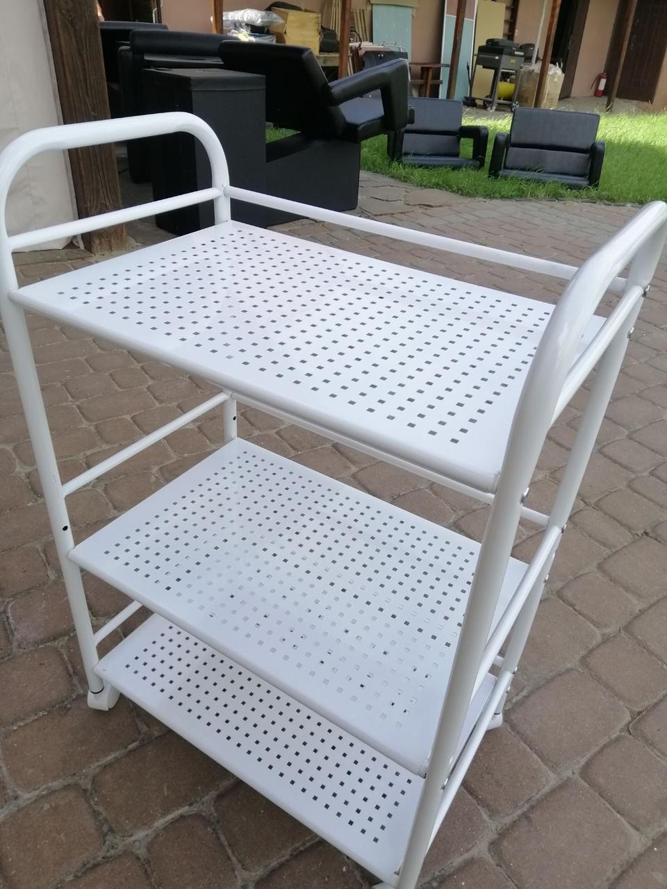 Візок косметологічна на колесах / Столик для косметолога з бортиками полиці метал B12 ST040