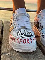 Кроссовки с надписями Nike Air Force Pauly x Vlone Pop (Найк Аир Форс белые низкие) женские и мужские размеры
