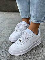 Белые кроссовки Nike Air Force 1 Low White (Найк Аир Форс низкие кожаные женские и мужские размеры 36-45)
