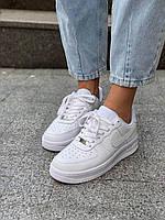 Белые кроссовки Nike Air Force 1 Low White (Найк Аир Форс низкие кожаные женские и мужские размеры 36-45) 36