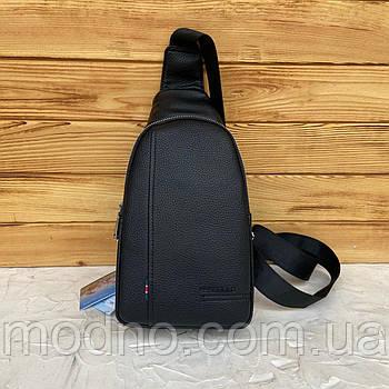 Мужская нагрудная сумка слинг через плечо черная