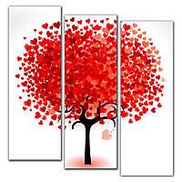 Модульная картина на стену в спальню 3 в 1 IdeaX Дерево любви, 90х100 см