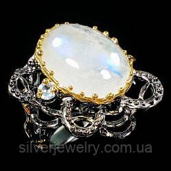 Серебряное кольцо с ЛУННЫМ КАМНЕМ (натуральный), серебро 925 пр. Размер 19,25