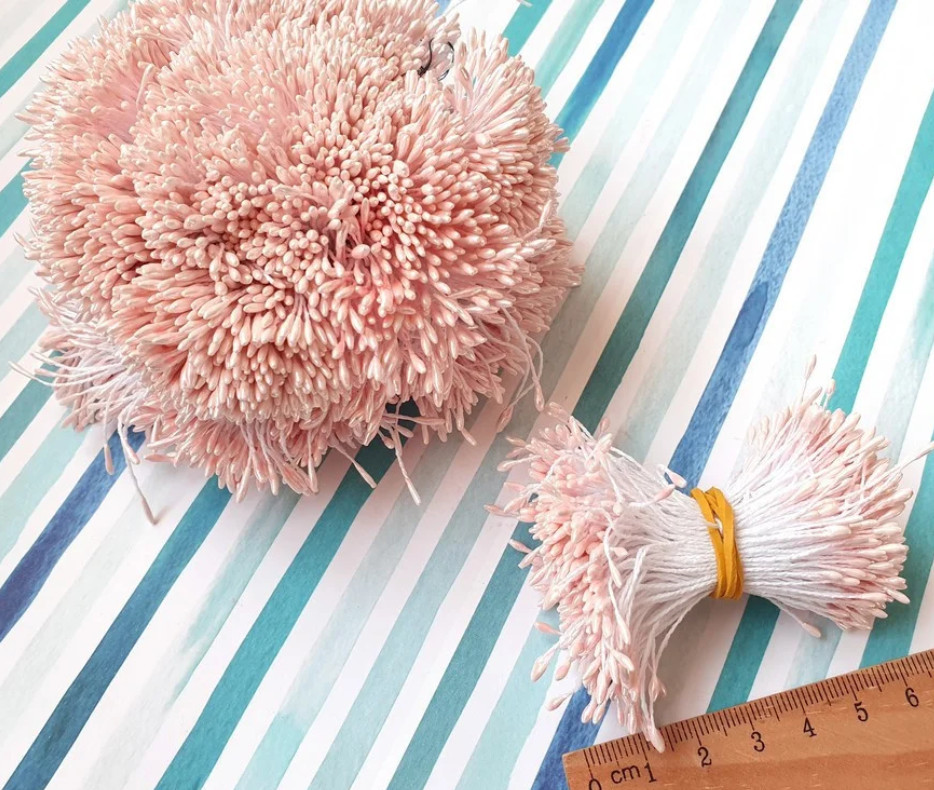 Тычинки для цветов тонкие двухсторонние, бледно-розовый (~100 нитей)