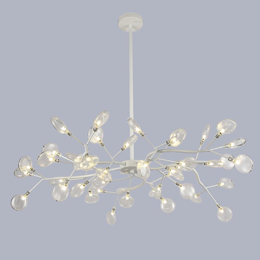 Потолочная белая люстра из 45 стеклянных лепестков